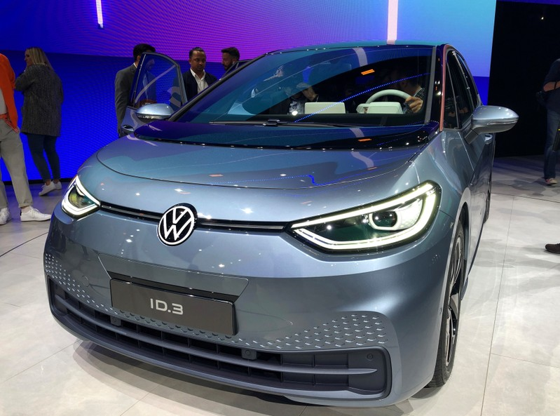 Presentation of Volkswagen's electric ID.3 pre-production prototype car on the eve of the International Frankfurt Motor Show IAA in Frankfurt