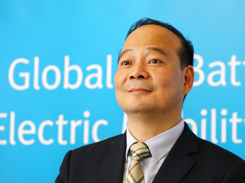 Chinese battery maker CATL CEO Robin Zeng attends a news conference in Berlin