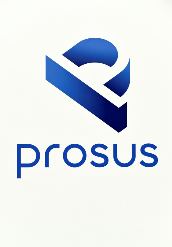 A logo of Prosus is diplayed at Amsterdam's stock exchange building as Prosus begins trading on the Euronext stock exchange in Amsterdam