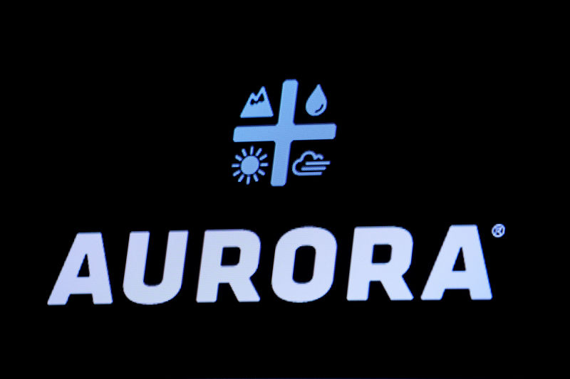FILE PHOTO: The Logo for Aurora Cannabis Inc., a Canadian licensed cannabis producer, is displayed on a screen on the floor of the NYSE in New York