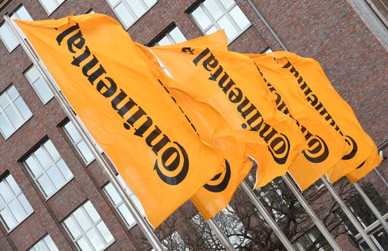 Flags of German tyre company Continental are pictured before the annual news conference in Hanover