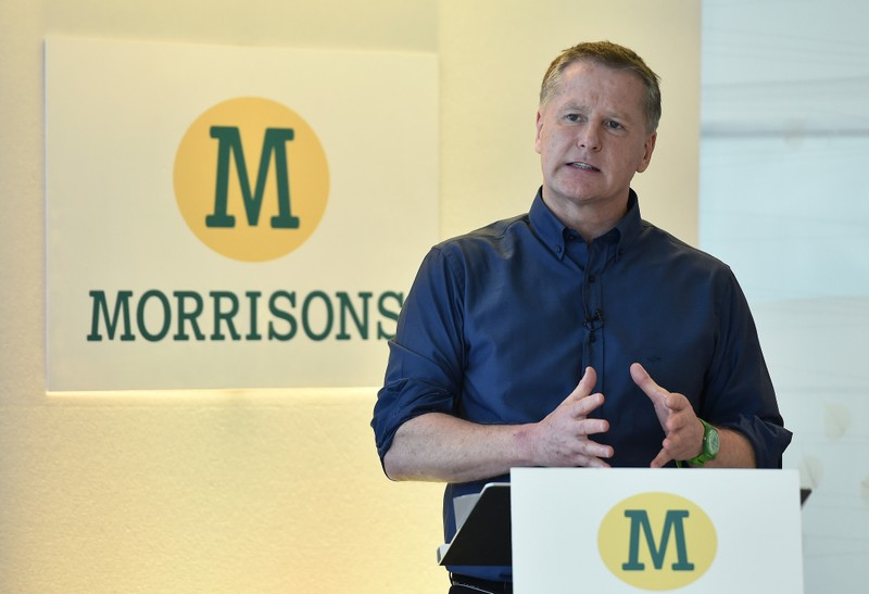 File photo of David Potts chief executive of Morrisons at a news conference in London