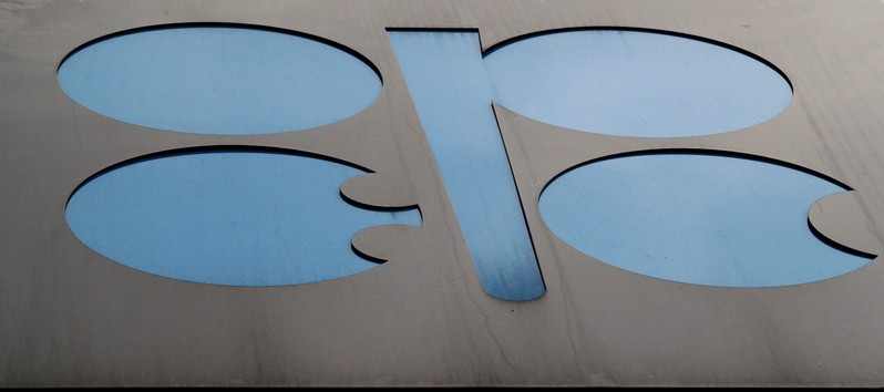 FILE PHOTO: The logo of the Organisation of the Petroleum Exporting Countries (OPEC) sits outside its headquarters ahead of the OPEC and NON-OPEC meeting in Vienna