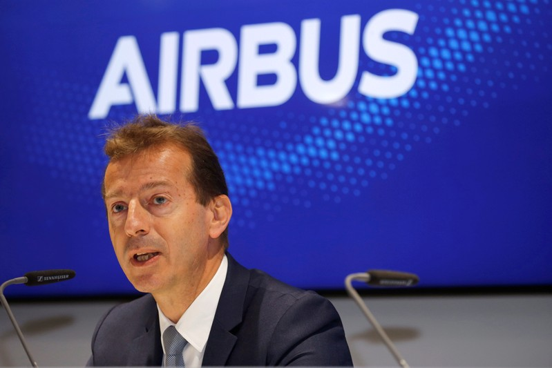 Airbus CEO Guillaume Faury attends a news conference at the 53rd International Paris Air Show at Le Bourget Airport near Paris
