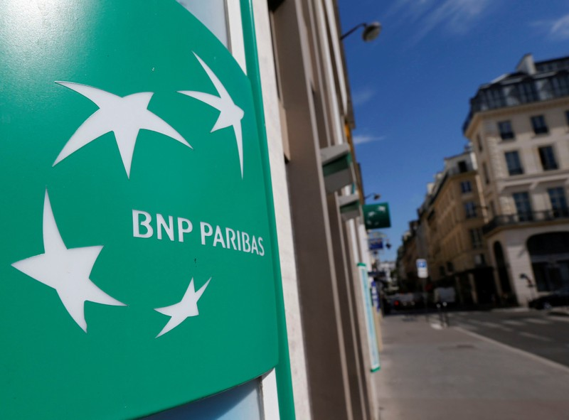 A BNP Paribas logo is seen outside a bank office in Paris