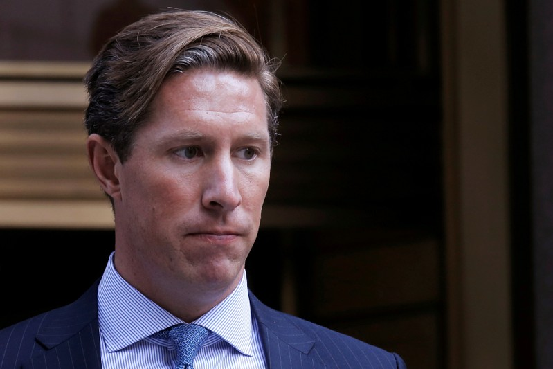 FILE PHOTO: Former Perella Weinberg investment banker Sean Stewart exits the Manhattan federal court house in New York