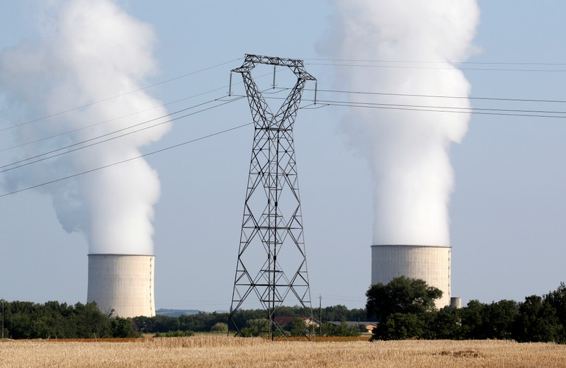 FILE PHOTO: Cooling towers and high-tension electrical power lines are seen near  the Golfech nuclear plant on the border of the Garonne River between Agen and Toulouse, France