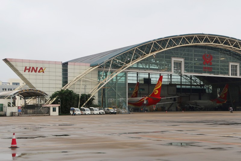 Hangar of HNA Group Co Ltd is pictured at Haikou Meilan International Airport in Haikou, Hainan