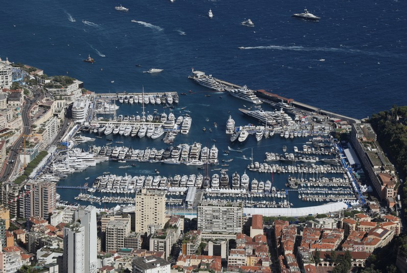 General view shows port of Monaco during the Monaco Yacht Show