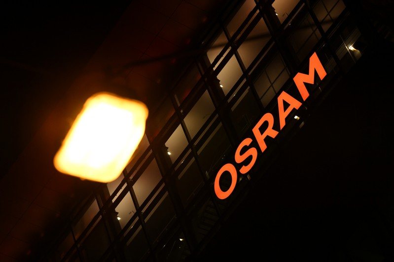 The logo of German lighting manufacturer Osram is illuminated