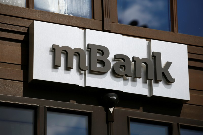 A logo of mBank, Poland's fourth-largest lender by assets, is pictured on the bank headquarters  in Warsaw