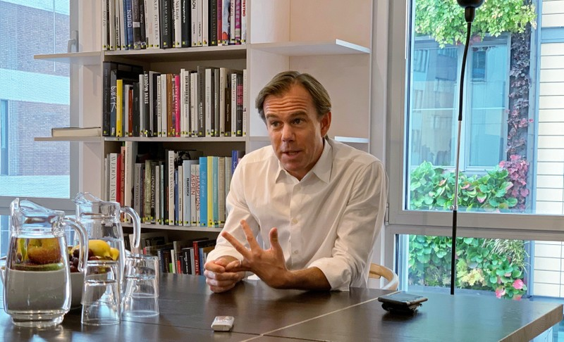 H&M CEO Karl-Johan Persson talks during an interview at the retailer's headquarters in Stockholm