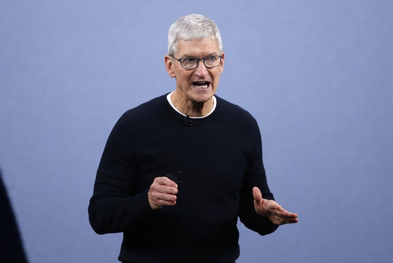 CEO Tim Cook speaks at an Apple event at their headquarters in Cupertino
