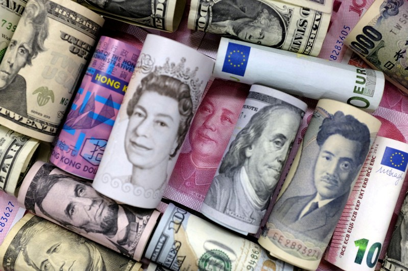 Euro, Hong Kong dollar, U.S. dollar, Japanese yen, British pound and Chinese yuan banknotes are seen in this picture illustration