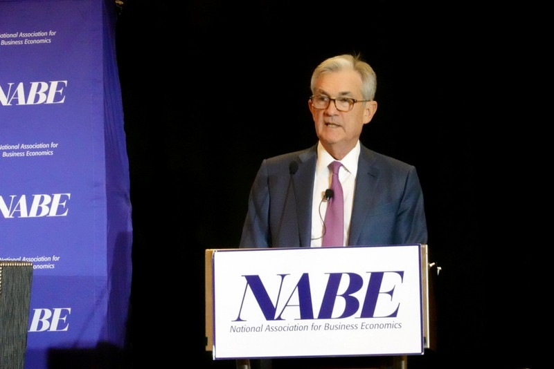 Federal Reserve Chairman Jerome Powell addresses the National Association for Business Economics in Denver, Colorado