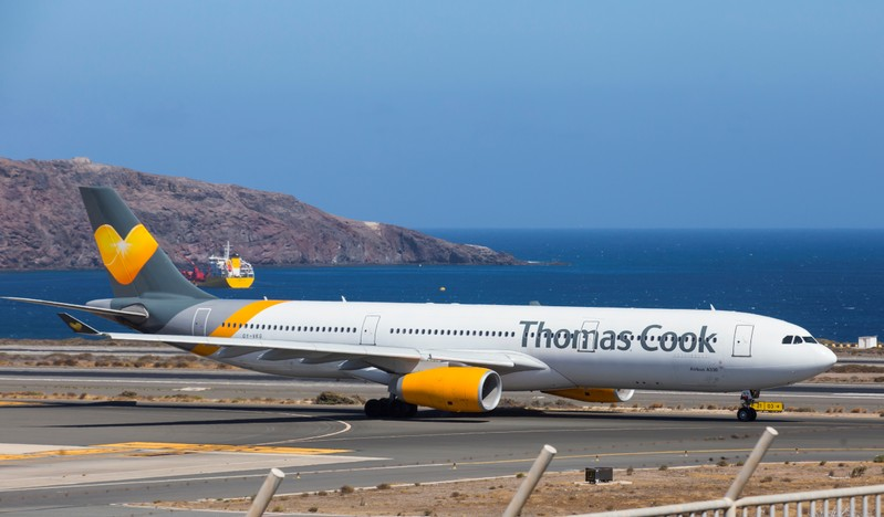 A Thomas Cook Scandinavia Airbus A330 plane takes off from Las Palmas in the Canary Islands