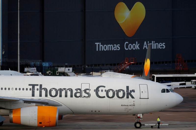A grounded airplane with the Thomas Cook livery is seen at Manchester Airport
