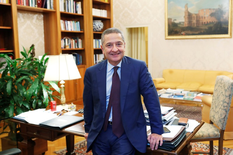 Senior Deputy Governor of the Bank of Italy, Fabio Panetta is seen in his office ahead of his appointment to the European Central Bank's executive committee