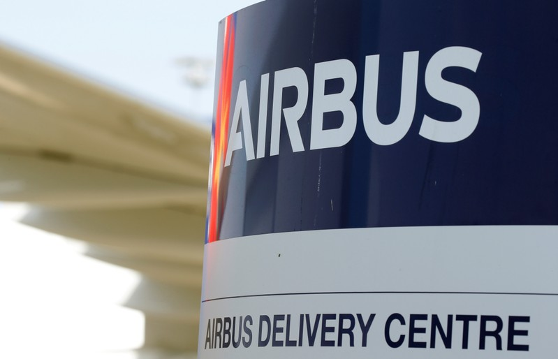 FILE PHOTO: Logo of Airbus is pictured at the aircraft builder's headquarters of Airbus in Colomiers near Toulouse
