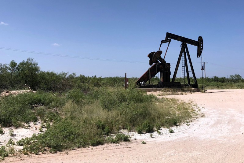 A pumpjack is shown outside Midland-Odessa area in the Permian basin in Texas