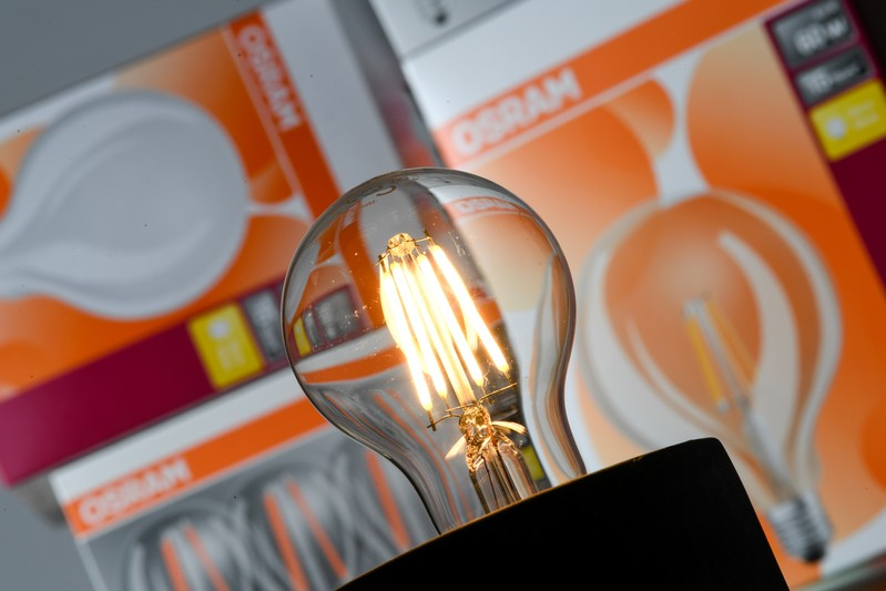 A lit bulb by German lighting manufacturer Osram