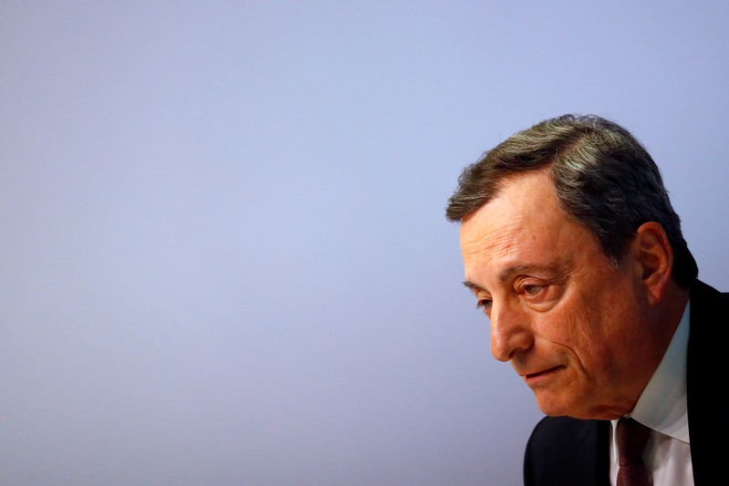 FILE PHOTO: Mario Draghi, President of the European Central Bank (ECB) holds a news conference on the outcome of the Governing Council meeting at the ECB headquarters in Frankfurt