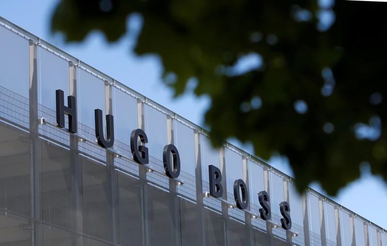 FILE PHOTO: The Hugo Boss logo is seen on a store in Metzingen
