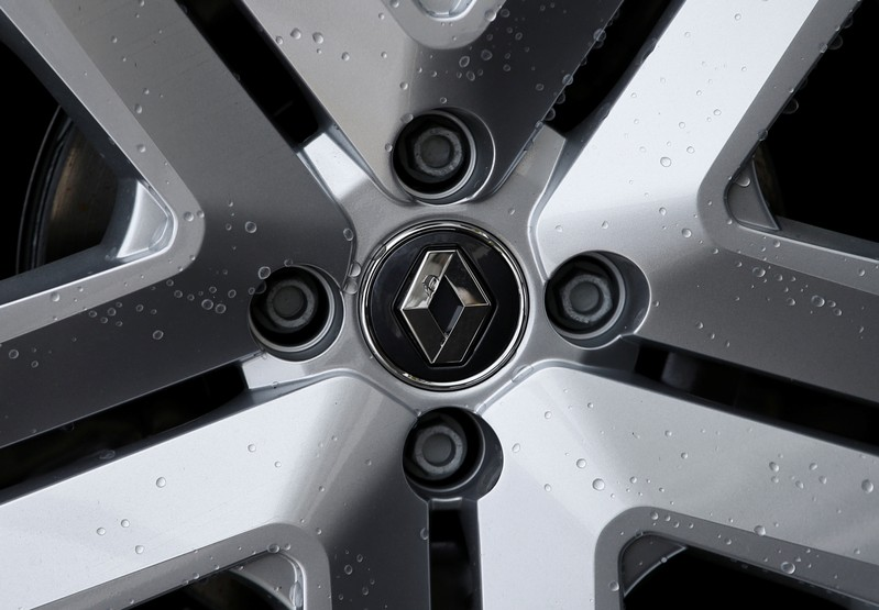 The logo of French car manufacturer Renault is seen on on a wheel rim of a car at a dealership of the company in Illkirch-Graffenstaden near Strasbourg