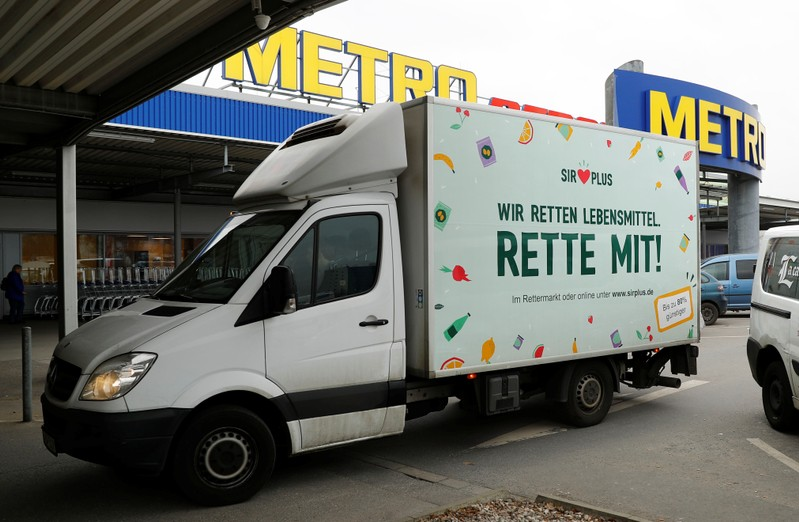 A truck of Sir Plus supermarket arrives at a store of retailer Metro AG in Berlin