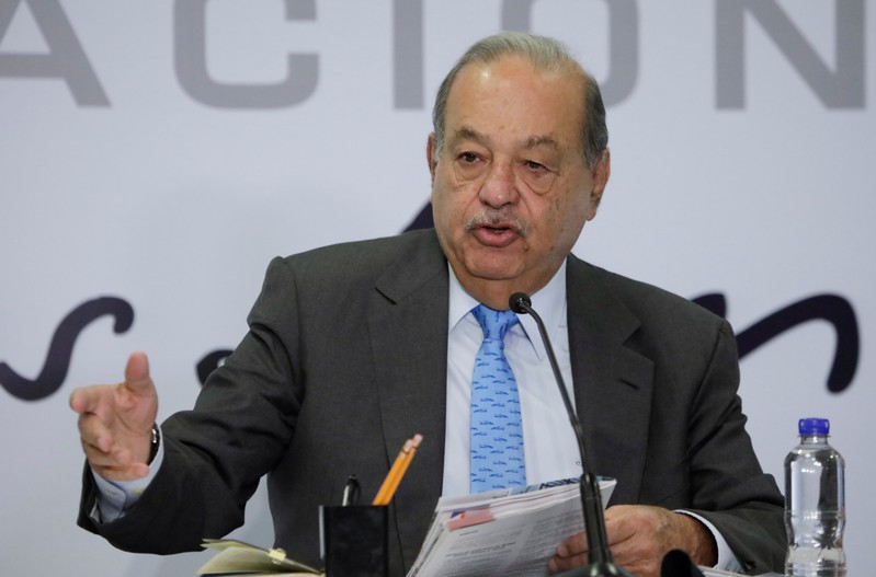 Mexican billionaire Carlos Slim attends a news conference in Mexico City