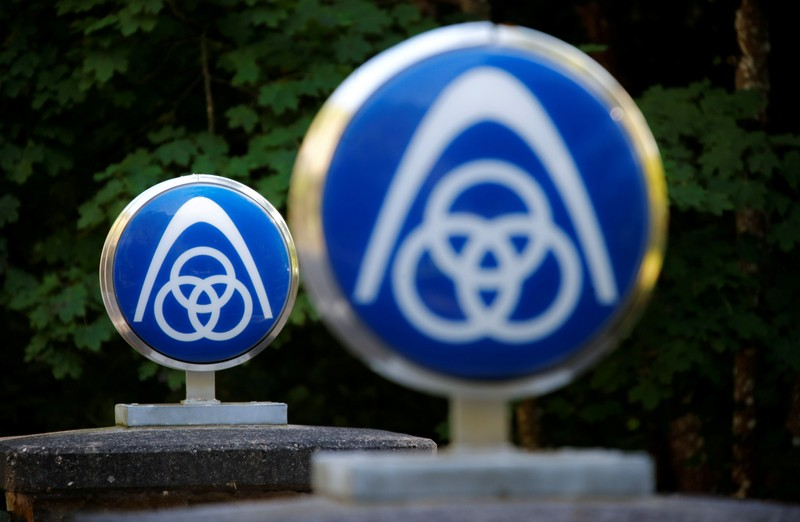 FILE PHOTO: Logo of German steelmaker ThyssenKrupp at Haus Rheinberg near Lorch