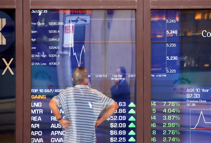 A man reacts as he looks at a board displaying stock prices at the Australian Securities Exchange in Sydney
