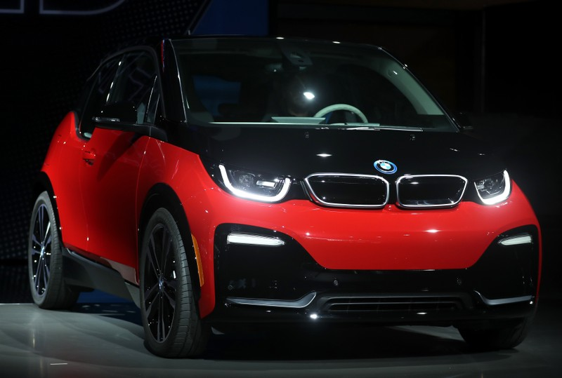 The BMW i3s is displayed at the Los Angeles Auto Show in Los Angeles