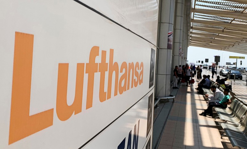 Deutsche Lufthansa sign is seen in front of the airport terminal at Cairo International Airport in Cairo