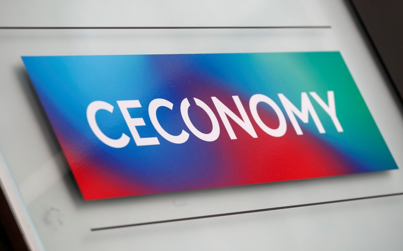 The logo of Ceconomy AG is pictured at the company's headquarters in Duesseldorf