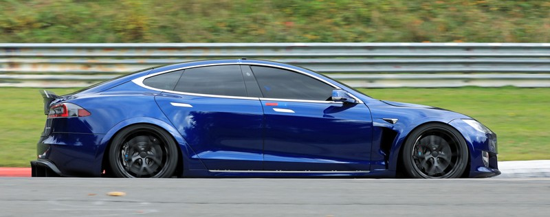 A Tesla Model S at the Nuerburgring race track