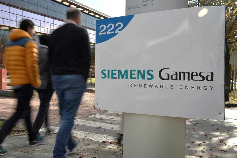 The Siemens Gamesa logo is displayed outside the company headquarters in Zumudio near Bilbao