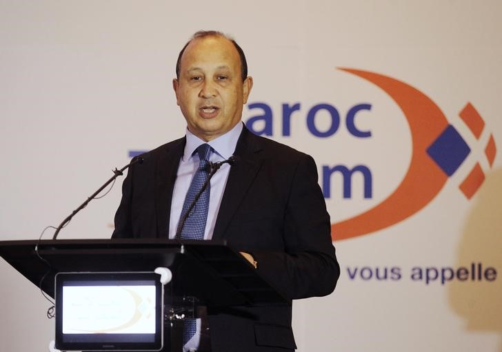 Maroc Telecom Chairman Ahizoune gestures during the company's full-year results news conference in Rabat