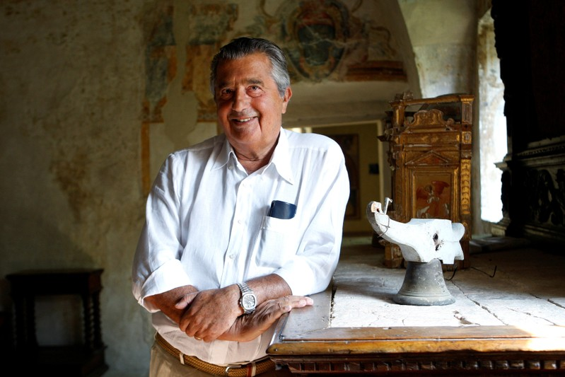 FILE PHOTO: Italian businessman Carlo De Benedetti participates in a Symbola Foundation meeting, in Montefalco