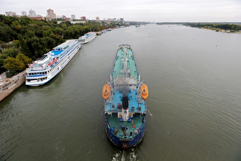 FILE PHOTO: An oil tanker sails along the Don River in Rostov-on-Don