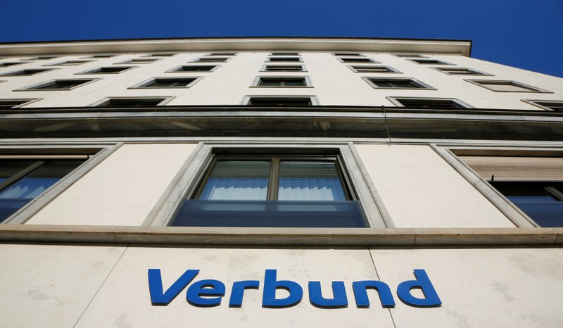 The logo of Austrian hydropower producer Verbund is seen on their headquarters in Vienna