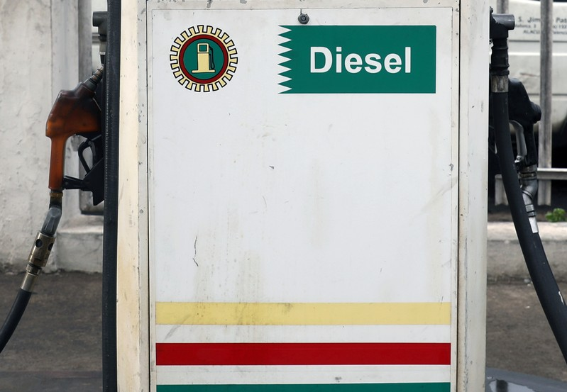 A diesel pump is pictured at a gas station in Lagos