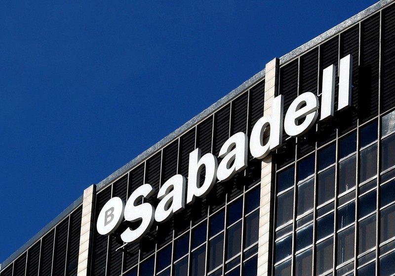 Sabadell bank's headquarters is seen in Barcelona