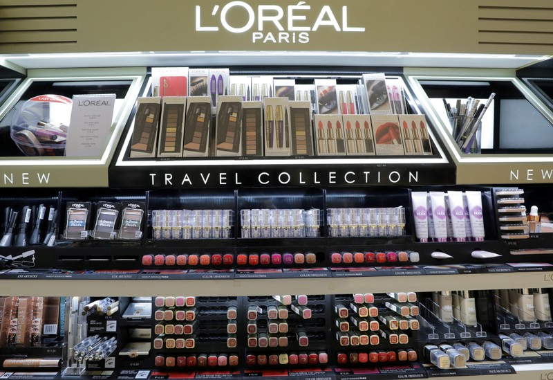 A cosmetic display of French cosmetics group L'Oreal is seen at a duty free shop at the Nice International Airport