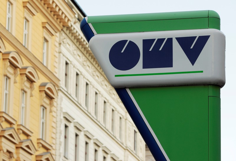 Logo of Austrian oil and gas group OMV is seen at a gas station in Vienna