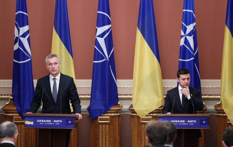 Ukrainian President Zelenskiy and NATO Secretary-General Stoltenberg attend a news conference in Kiev