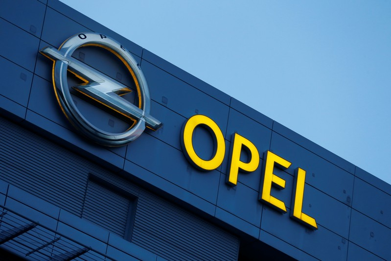 An Opel logo is pictured in Ruesselsheim