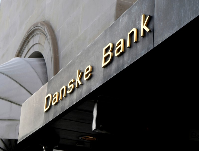 A Danske bank sign is seen on a bank's headquarters in Copenhagen