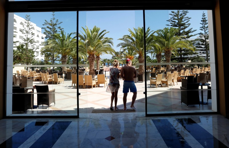 Russian tourists are seen at the Steigenberger Kantaoui Bay Hotel, previously Imperial Marhaba hotel, in Sousse