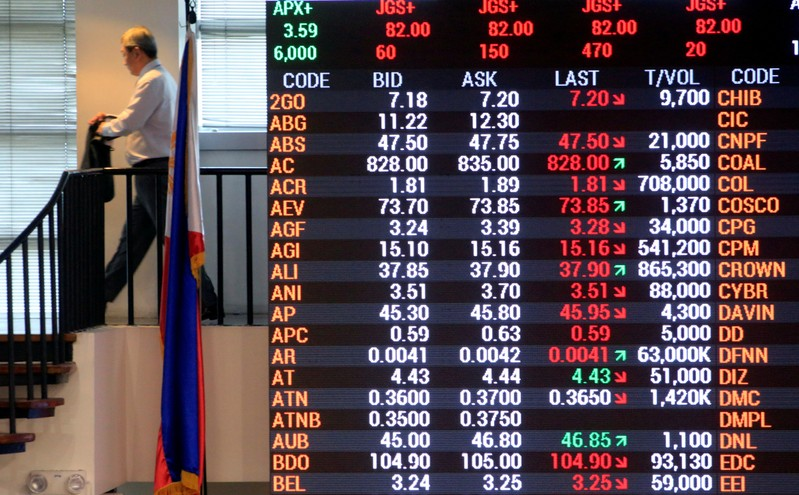 FILE PHOTO: A trader walks past the electronic board of the Philippine Stock Exchange in Makati city, Metro Manila